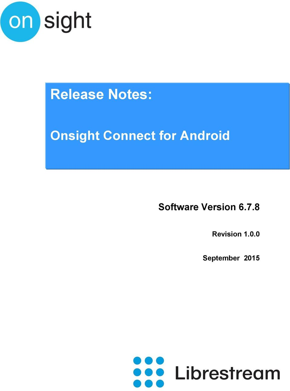 Release Notes Software