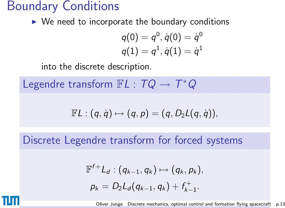 Legendre transform FL : TQ T Q FL : (q, q) (q, p) = (q, D 2 L(q, q)), Discrete Legendre transform for