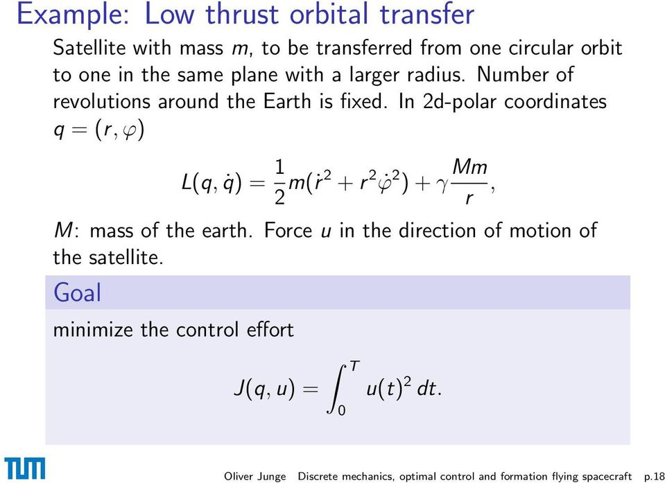 In 2d-polar coordinates q = (r, ϕ) L(q, q) = 1 2 m(ṙ 2 + r 2 ϕ 2 ) + γ Mm, r M: mass of the earth.