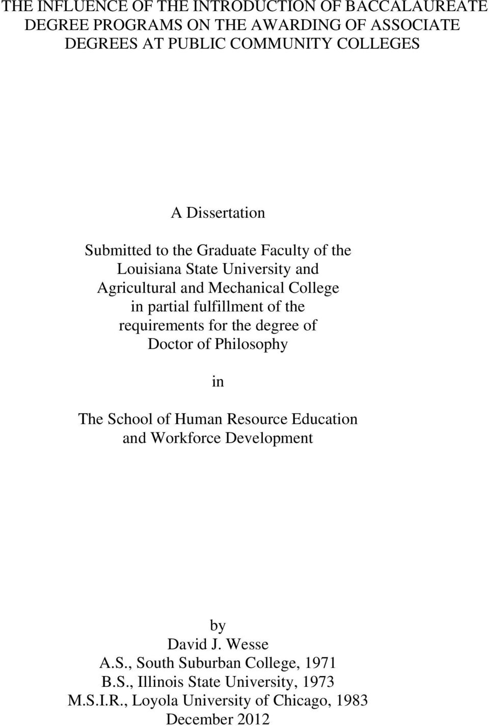 fulfillment of the requirements for the degree of Doctor of Philosophy in The School of Human Resource Education and Workforce Development