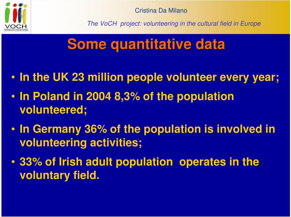 year; In Poland in 2004 8,3% of the population volunteered; In Germany 36% of the population is