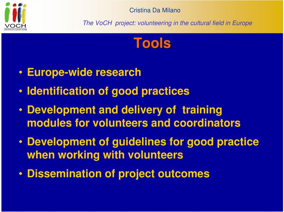 Identification of good practices Development and delivery of training modules for volunteers and