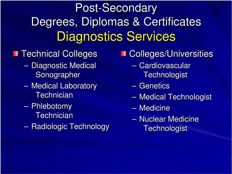 Technician Phlebotomy Technician Radiologic Technology Colleges/Universities