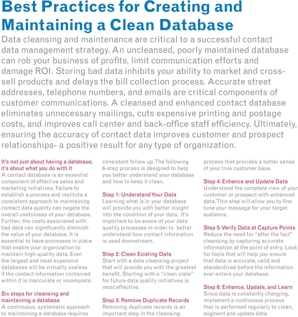Storing bad data inhibits your ability to market and crosssell products and delays the bill collection process.