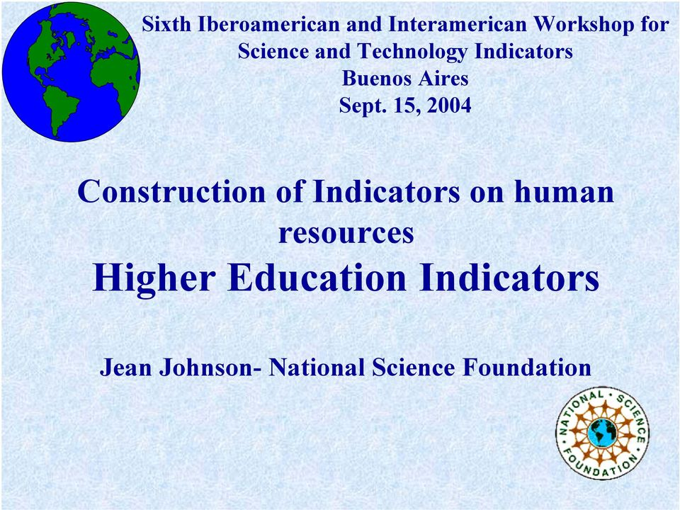 15, 2004 Construction of Indicators on human resources