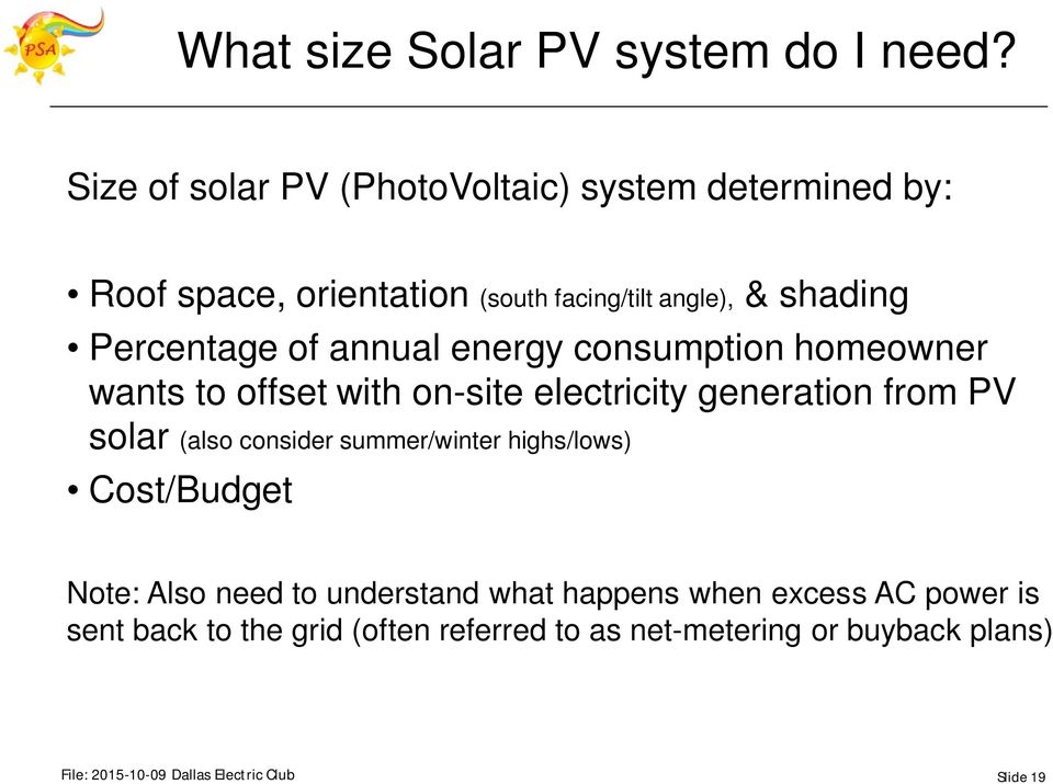 of annual energy consumption homeowner wants to offset with on-site electricity generation from PV solar (also consider