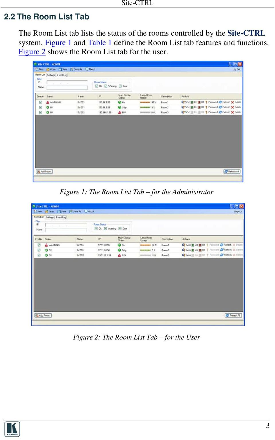Figure 1 and Table 1 define the Room List tab features and functions.