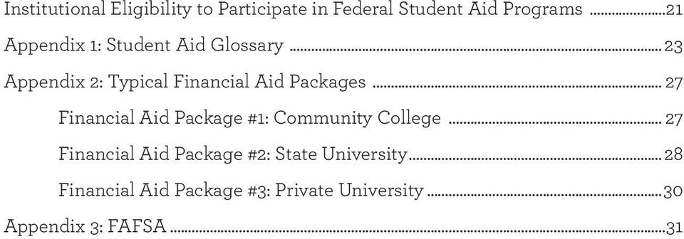 .. 7 Financial Aid Package #: Community College.