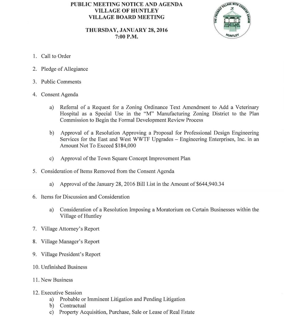 the Formal Development Review Process b) Approval of a Resolution Approving a Proposal for Professional Design Engineering Services for the East and West WWTF Upgrades- Engineering Enterprises, Inc.