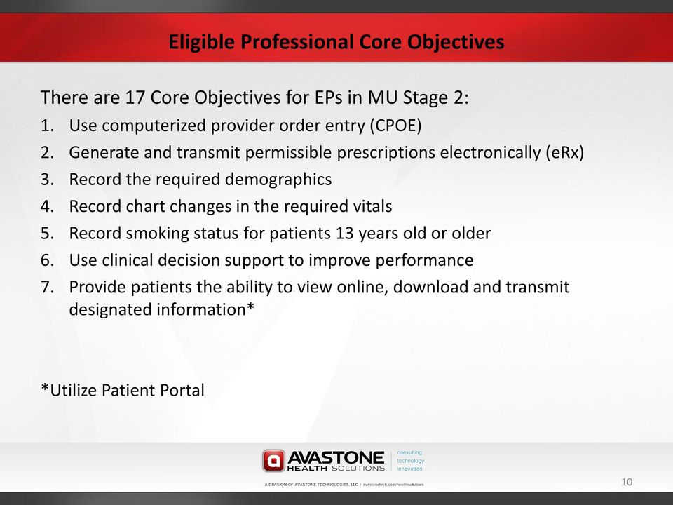 Record the required demographics 4. Record chart changes in the required vitals 5.