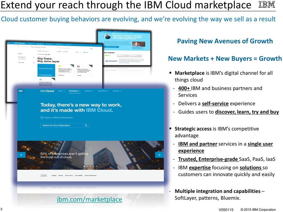 users to discover, learn, try and buy Strategic accessis IBM s competitive advantage - IBM and partnerservices in a single user experience - Trusted, Enterprise-grade SaaS, PaaS,