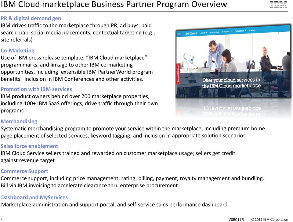 PartnerWorld program benefits. Inclusion in IBM Conferences and other activities.