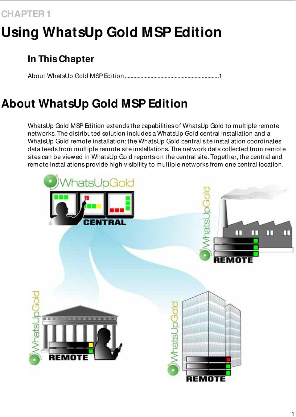 The distributed solution includes a WhatsUp Gold central installation and a WhatsUp Gold remote installation; the WhatsUp Gold central site installation coordinates