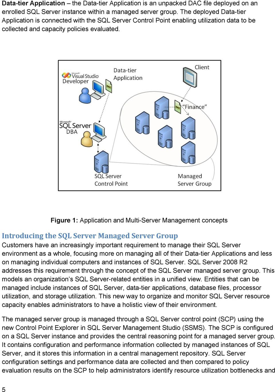 Figure 1: Application and Multi-Server Management concepts Introducing the SQL Server Managed Server Group Customers have an increasingly important requirement to manage their SQL Server environment