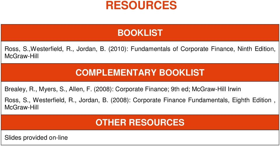 Brealey, R., Myers, S., Allen, F. (2008): Corporate Finance; 9th ed; McGraw-Hill Irwin Ross, S.