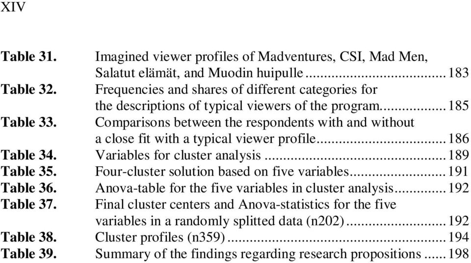 Comparisons between the respondents with and without a close fit with a typical viewer profile... 186 Table 34. Variables for cluster analysis... 189 Table 35.