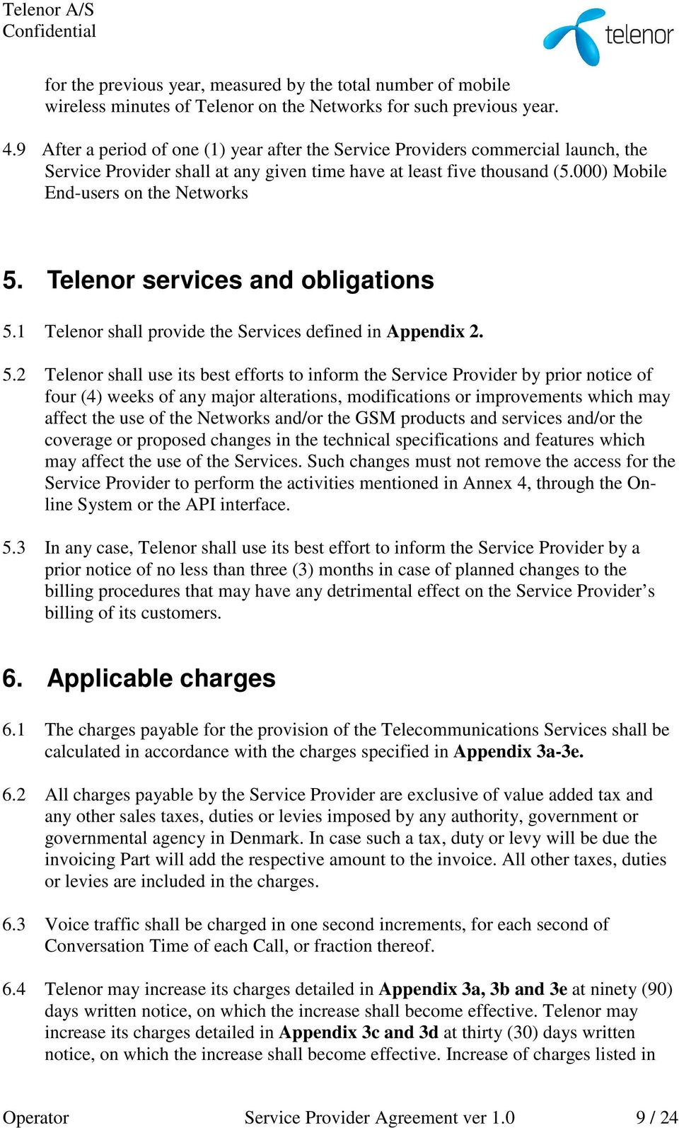 Telenor services and obligations 5.