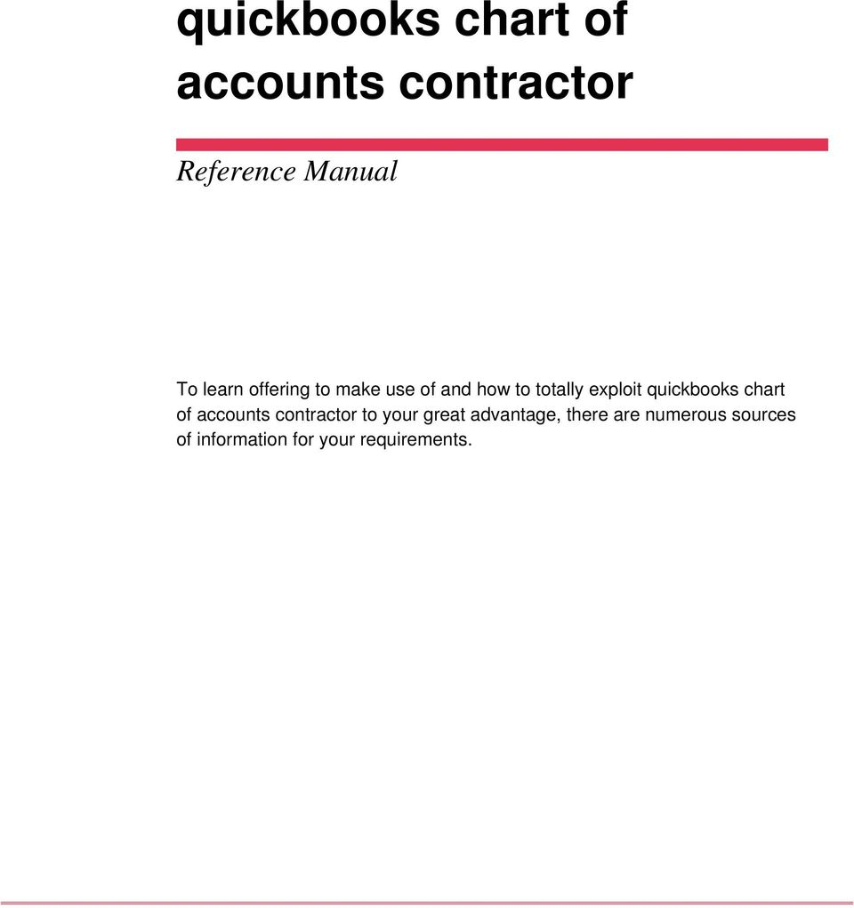 quickbooks chart of accounts contractor to your great