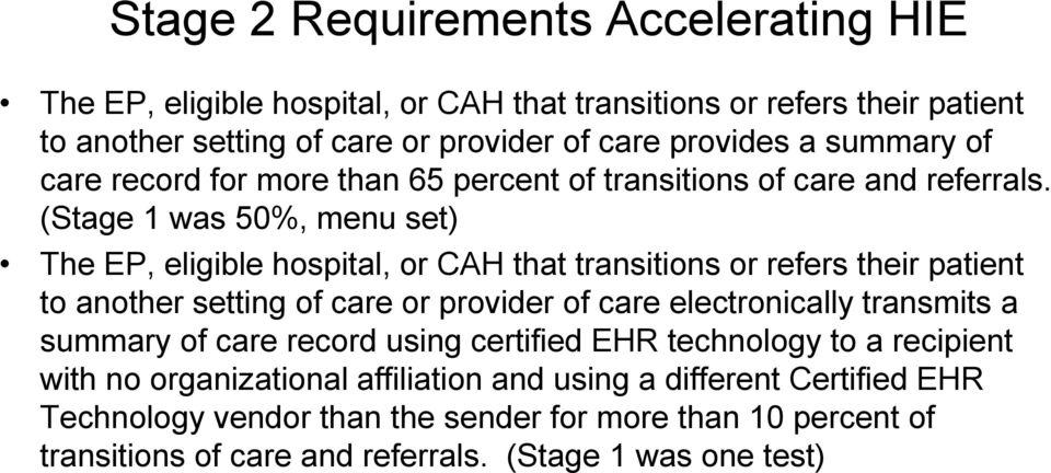(Stage 1 was 50%, menu set) The EP, eligible hospital, or CAH that transitions or refers their patient to another setting of care or provider of care electronically