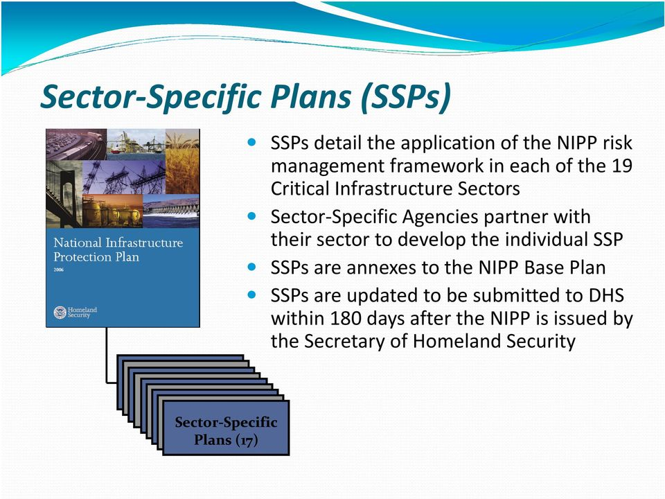in each of the 19 Critical Infrastructure Sectors Sector-Specific Agencies partner with their sector to develop the individual SSP SSPs