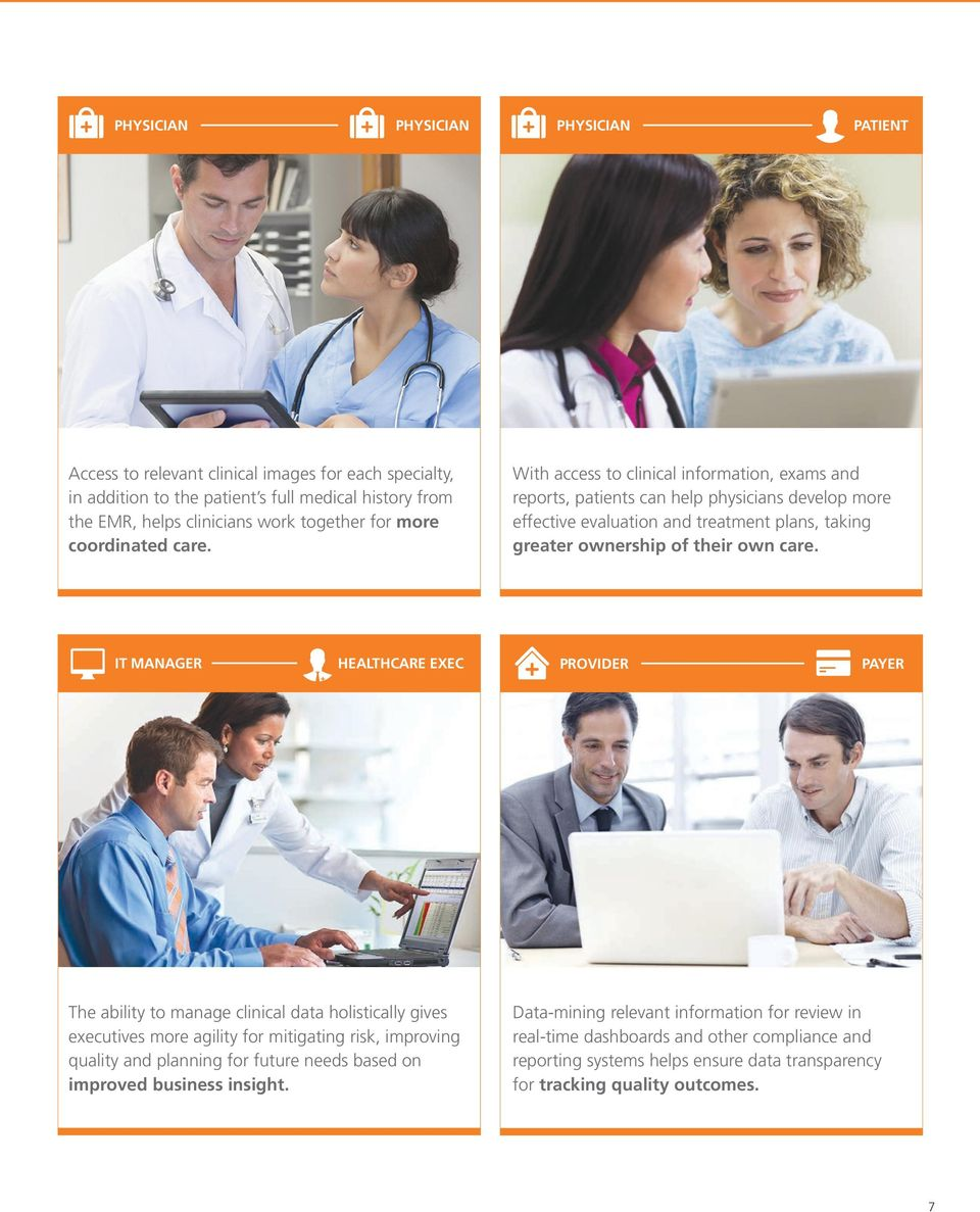 With access to clinical information, exams and reports, patients can help physicians develop more effective evaluation and treatment plans, taking greater ownership of their own care.