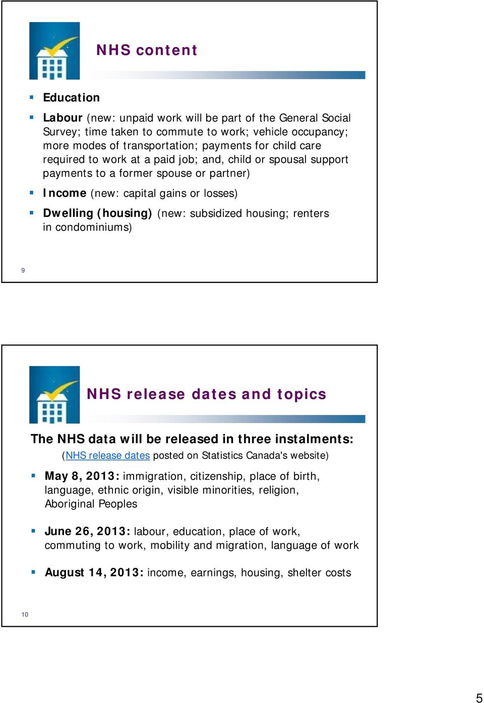 condominiums) 9 NHS release dates and topics The NHS data will be released in three instalments: (NHS release dates posted on Statistics Canada's website) May 8, 2013: immigration, citizenship, place