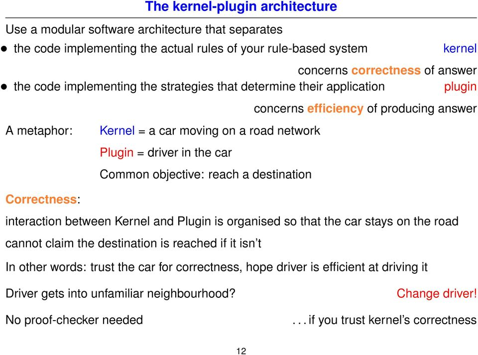 destination concerns efficiency of producing answer interaction between Kernel and Plugin is organised so that the car stays on the road cannot claim the destination is reached if it isn t In