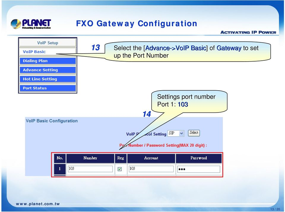 of Gateway to set up the Port Number