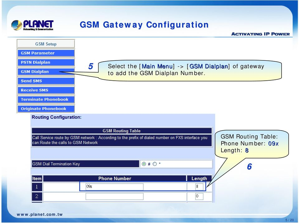gateway to add the GSM Dialplan Number.