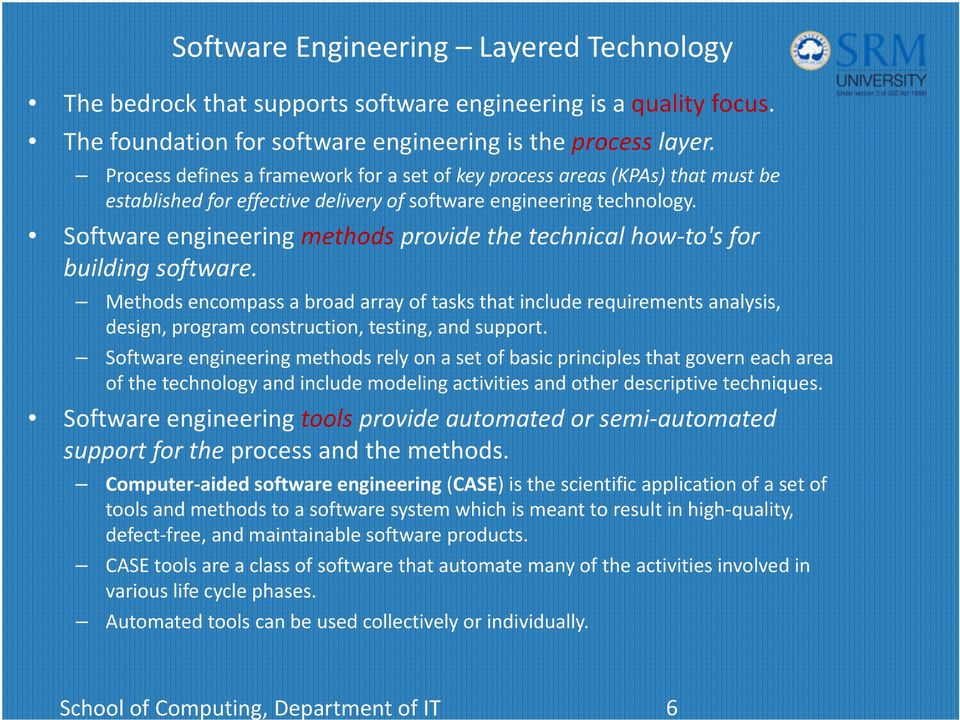 Process defines a framework for a set of key process areas (KPAs) that must be established for effective delivery of software engineering technology.