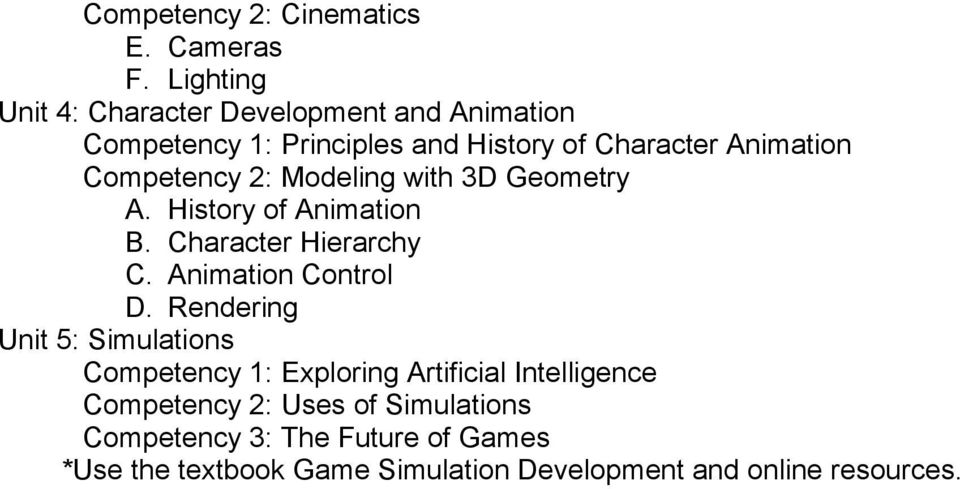 Competency 2: Modeling with 3D Geometry A. History of Animation B. Character Hierarchy C. Animation Control D.