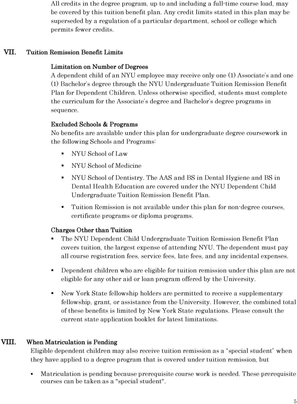 Nyu Tuition Remission Benefit Plan For Dependent Children