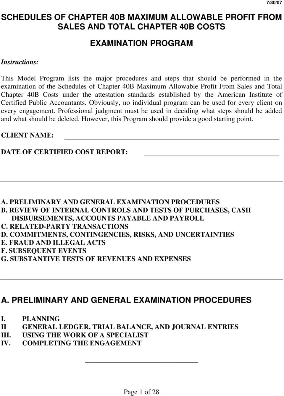 of Certified Public Accountants. Obviously, no individual program can be used for every client on every engagement.