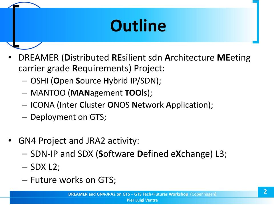 ICONA (Inter Cluster ONOS Network Application); Deployment on GTS; GN4 Project and