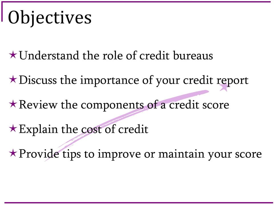 the components of a credit score Explain the cost