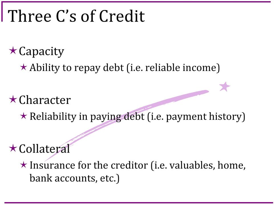 debt (i.e. payment history) Collateral Insurance for