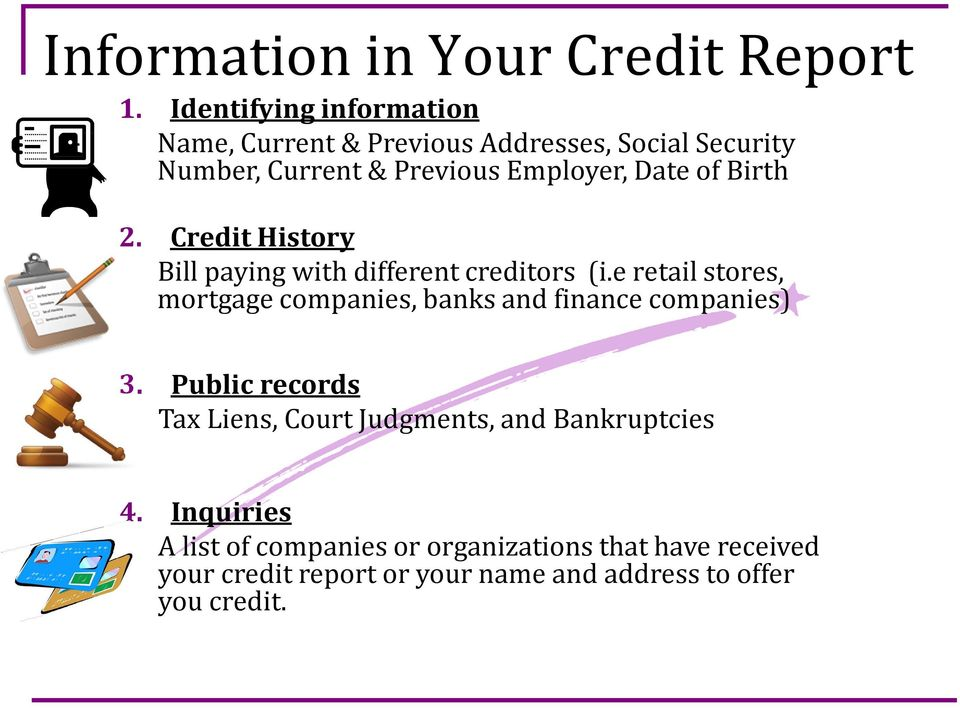 Birth 2. Credit History Bill paying with different creditors (i.