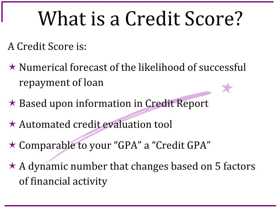 repayment of loan Based upon information in Credit Report Automated