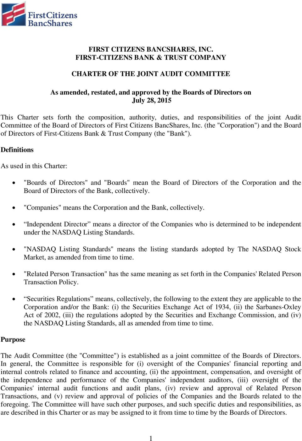 authority, duties, and responsibilities of the joint Audit Committee of the Board of Directors of First Citizens BancShares, Inc.