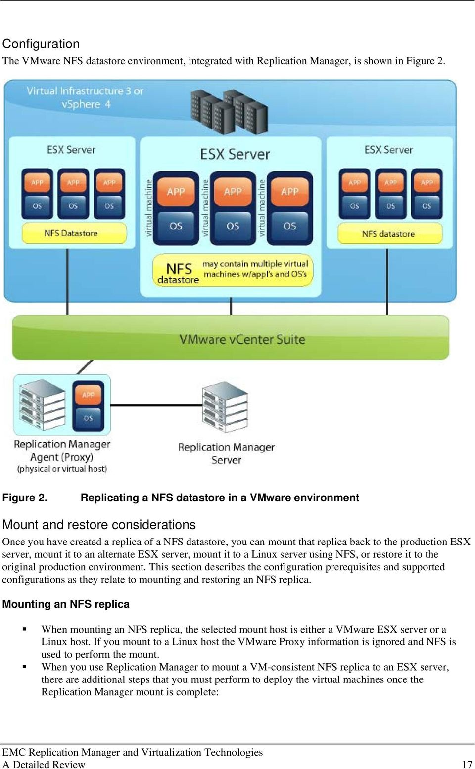 Replicating a NFS datastore in a VMware environment Mount and restore considerations Once you have created a replica of a NFS datastore, you can mount that replica back to the production ESX server,