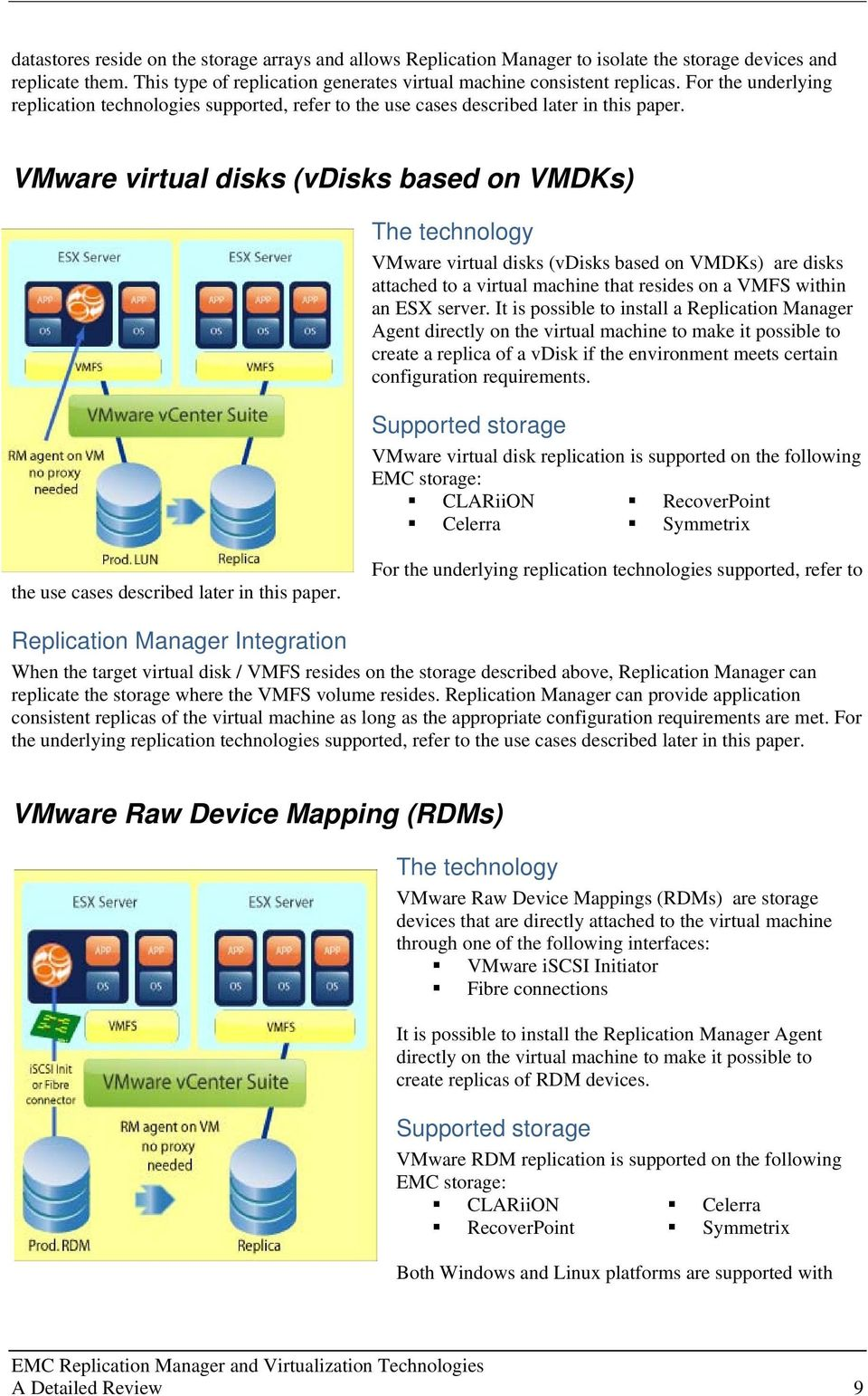 VMware virtual disks (vdisks based on VMDKs) The technology VMware virtual disks (vdisks based on VMDKs) are disks attached to a virtual machine that resides on a VMFS within an ESX server.