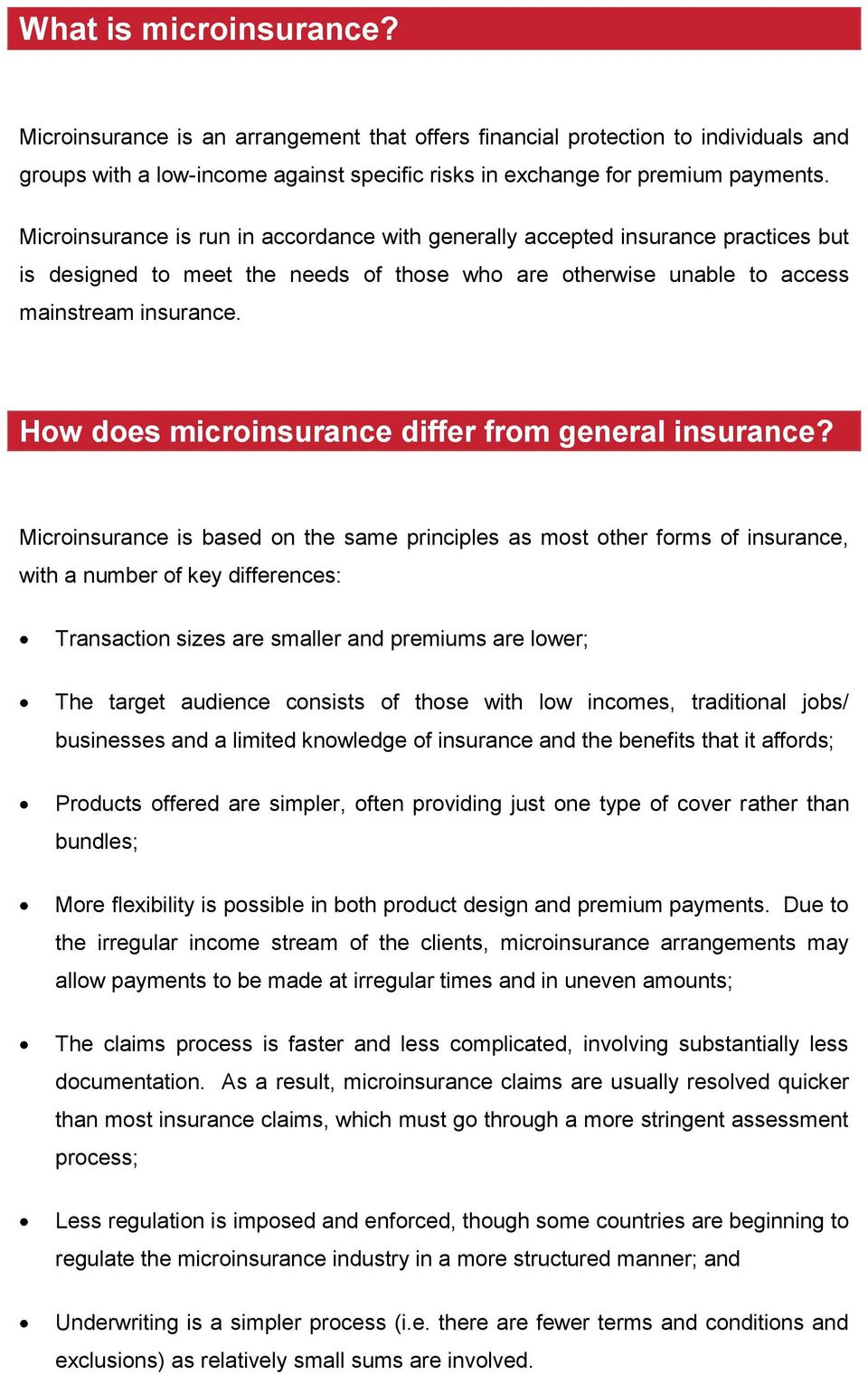 How does microinsurance differ from general insurance?