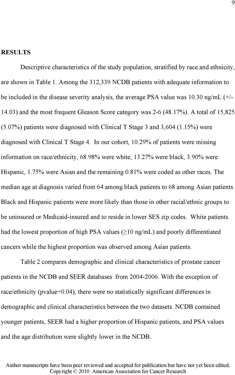 03) and the most frequent Gleason Score category was 2-6 (48.17%). A total of 15,825 (5.07%) patients were diagnosed with Clinical T Stage 3 and 3,604 (1.15%) were diagnosed with Clinical T Stage 4.