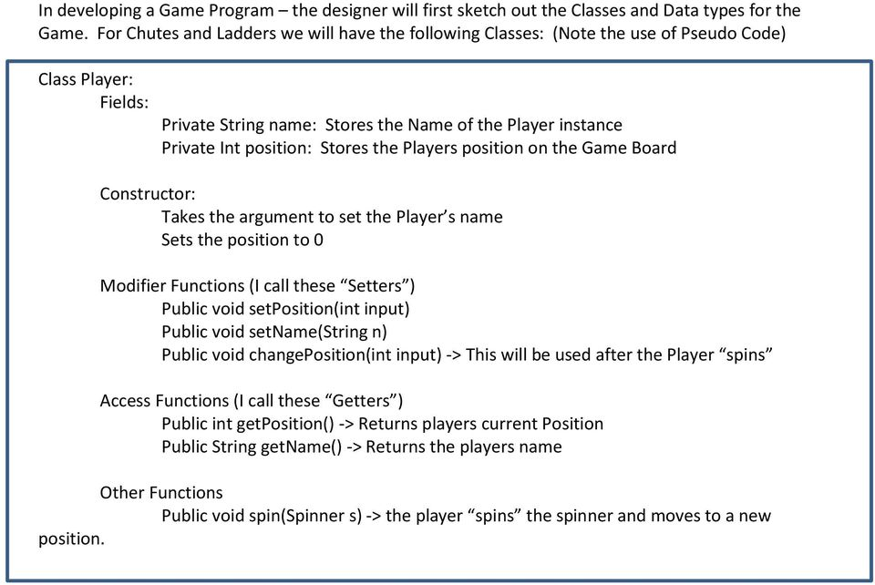 the Players position on the Game Board Constructor: Takes the argument to set the Player s name Sets the position to 0 Modifier Functions (I call these Setters ) Public void setposition(int input)