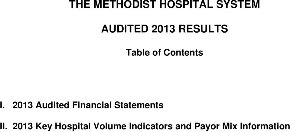 2013 Audited Financial Statements II.