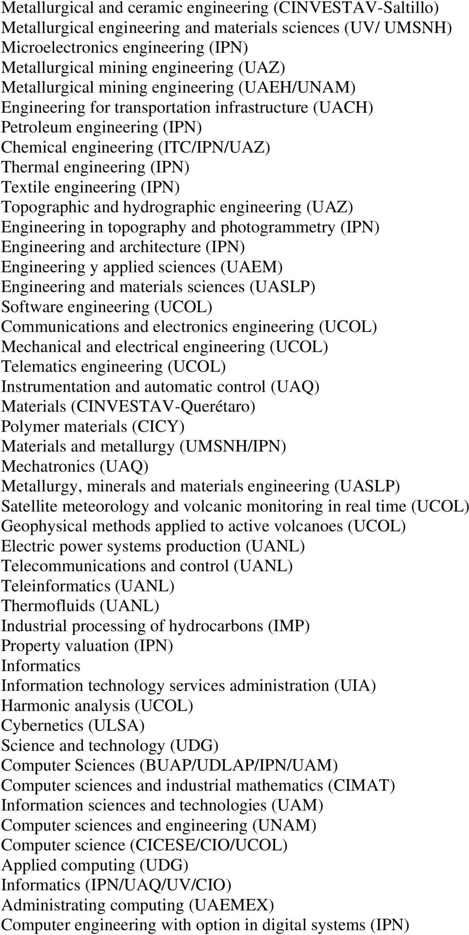 engineering (IPN) Topographic and hydrographic engineering (UAZ) Engineering in topography and photogrammetry (IPN) Engineering and architecture (IPN) Engineering y applied sciences (UAEM)