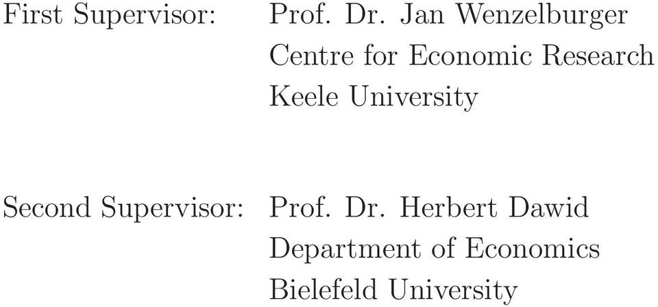 Research Keele University Second Supervisor: