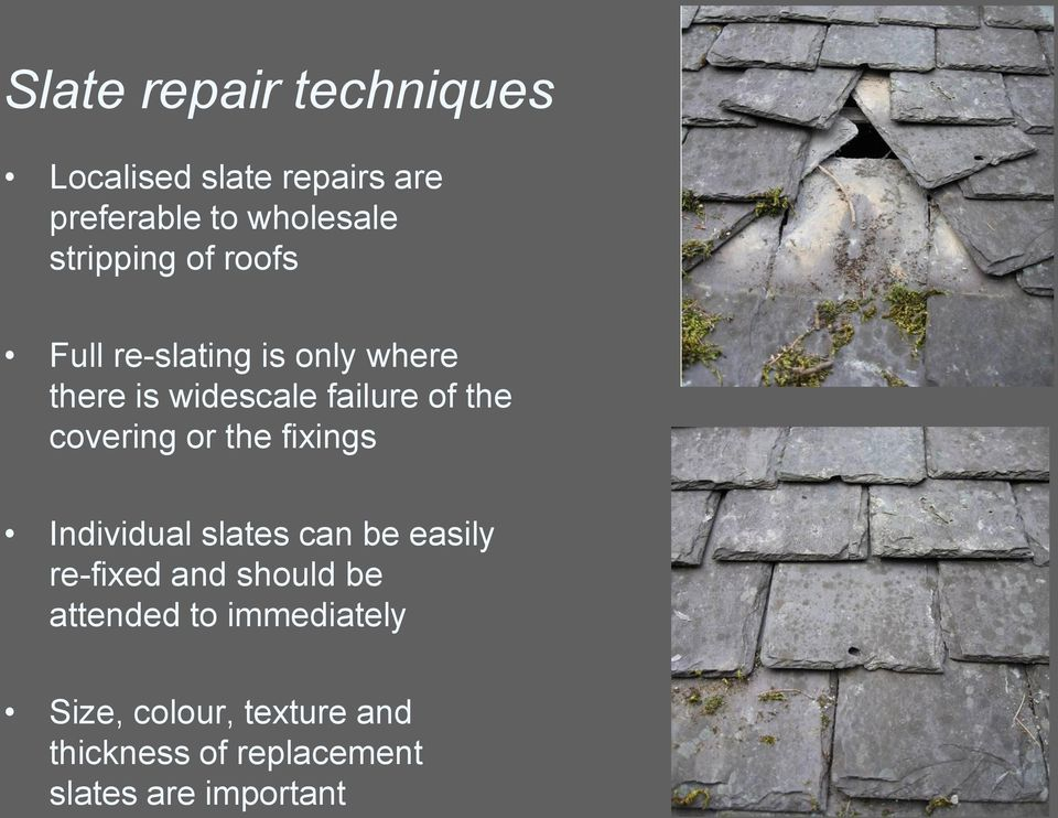covering or the fixings Individual slates can be easily re-fixed and should be