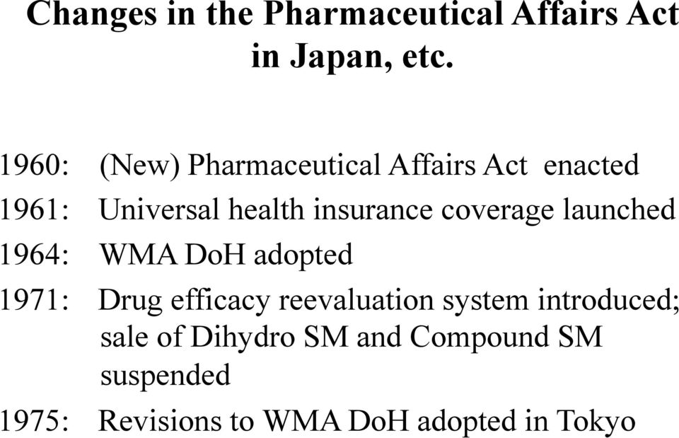 coverage launched 1964: WMA DoH adopted 1971: Drug efficacy reevaluation system