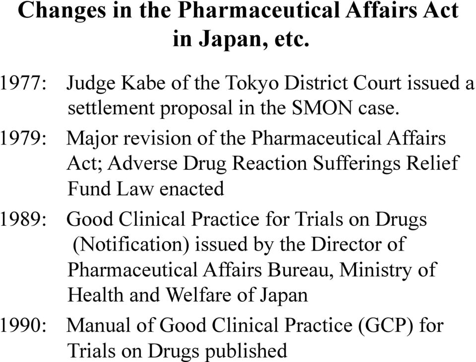 1979: Major revision of the Pharmaceutical Affairs Act; Adverse Drug Reaction Sufferings Relief Fund Law enacted 1989: Good